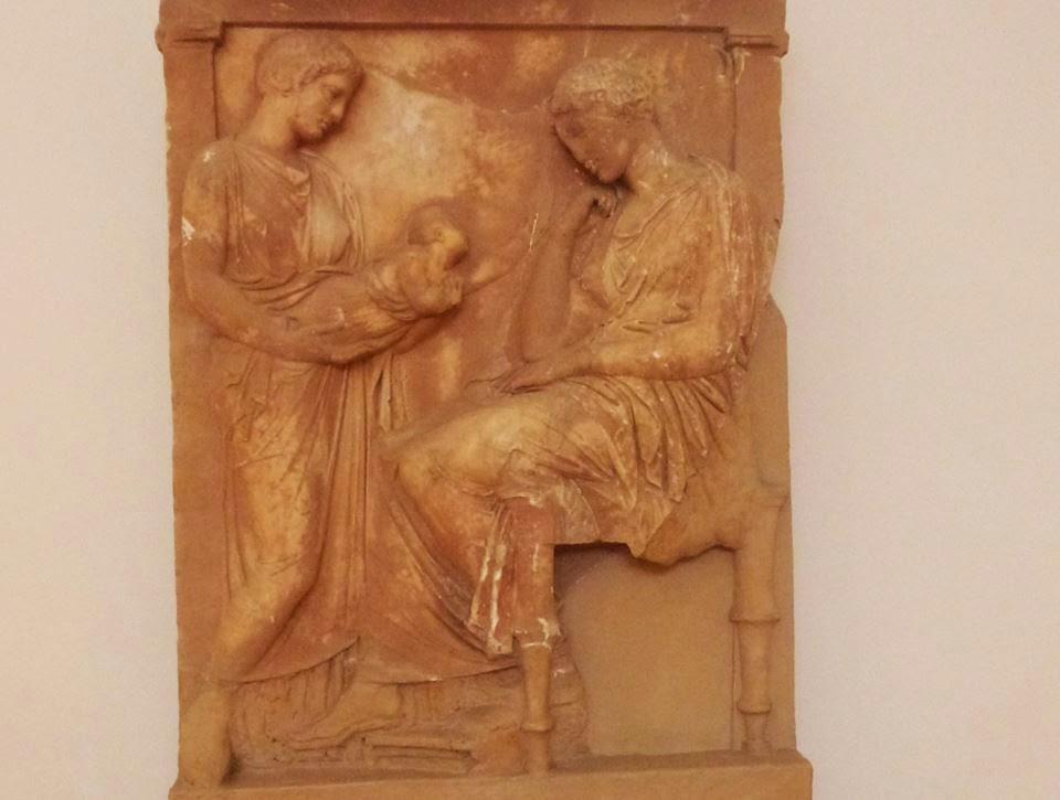 Επιτύμβια στήλη από πεντελικό μάρμαρο,  α΄ τέταρτο του 4ου αι. π.Χ.