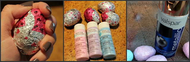 easter, eggs, foil, decor, spring, martha stewart paints