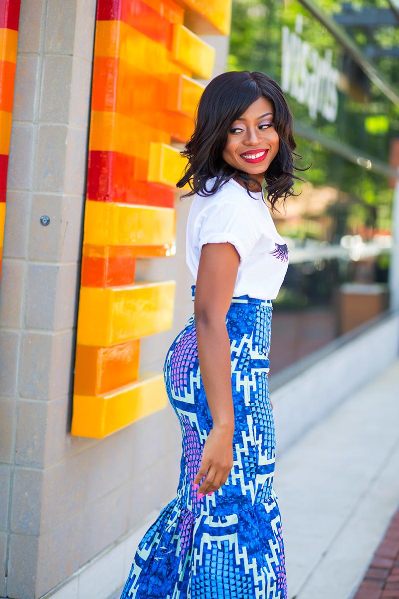 Graphic print tee, sincerely jules tee, zuvaa african print skirt