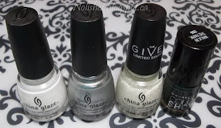 China Glaze 'White on White', China Glaze 'I'd Melt for You', China Glaze 'The Outer Edge', and Maybelline Color Show 'Walk in the Park'