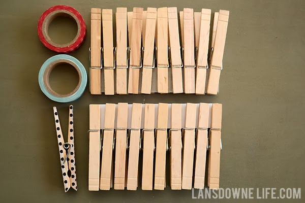 Easy and cheap kids craft: Washi tape clothespins