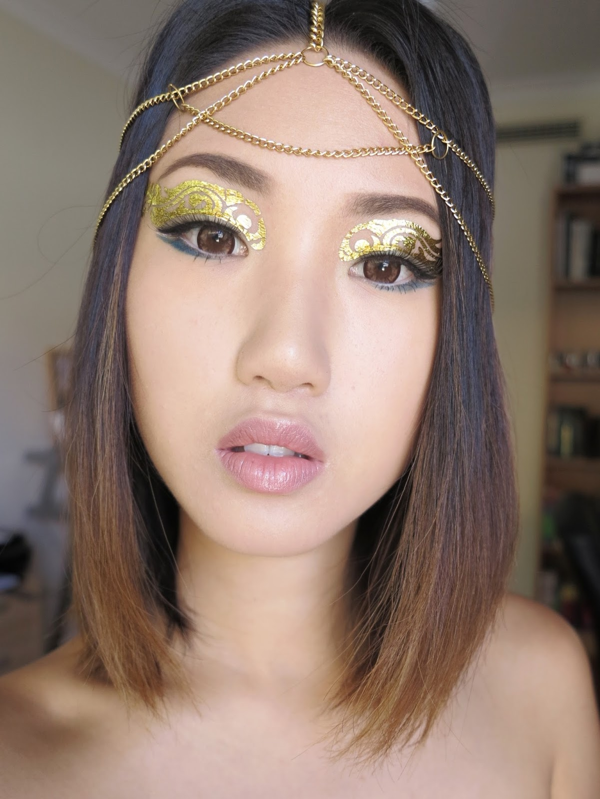 Bornpretty gold foil eye make up tattoo review for Gold foil tattoo