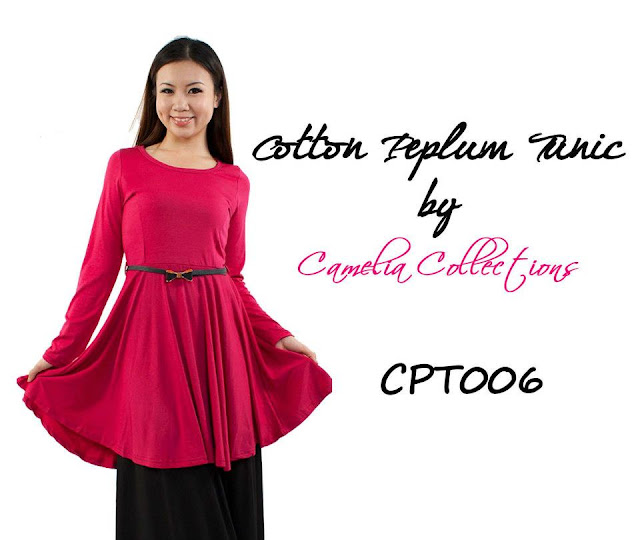 cotton peplum tunic pink