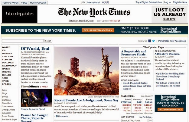 the New York Times reporting end of world