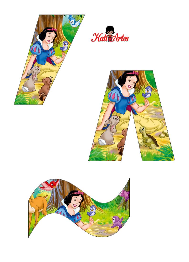 alfabeto de blancanieves con animales