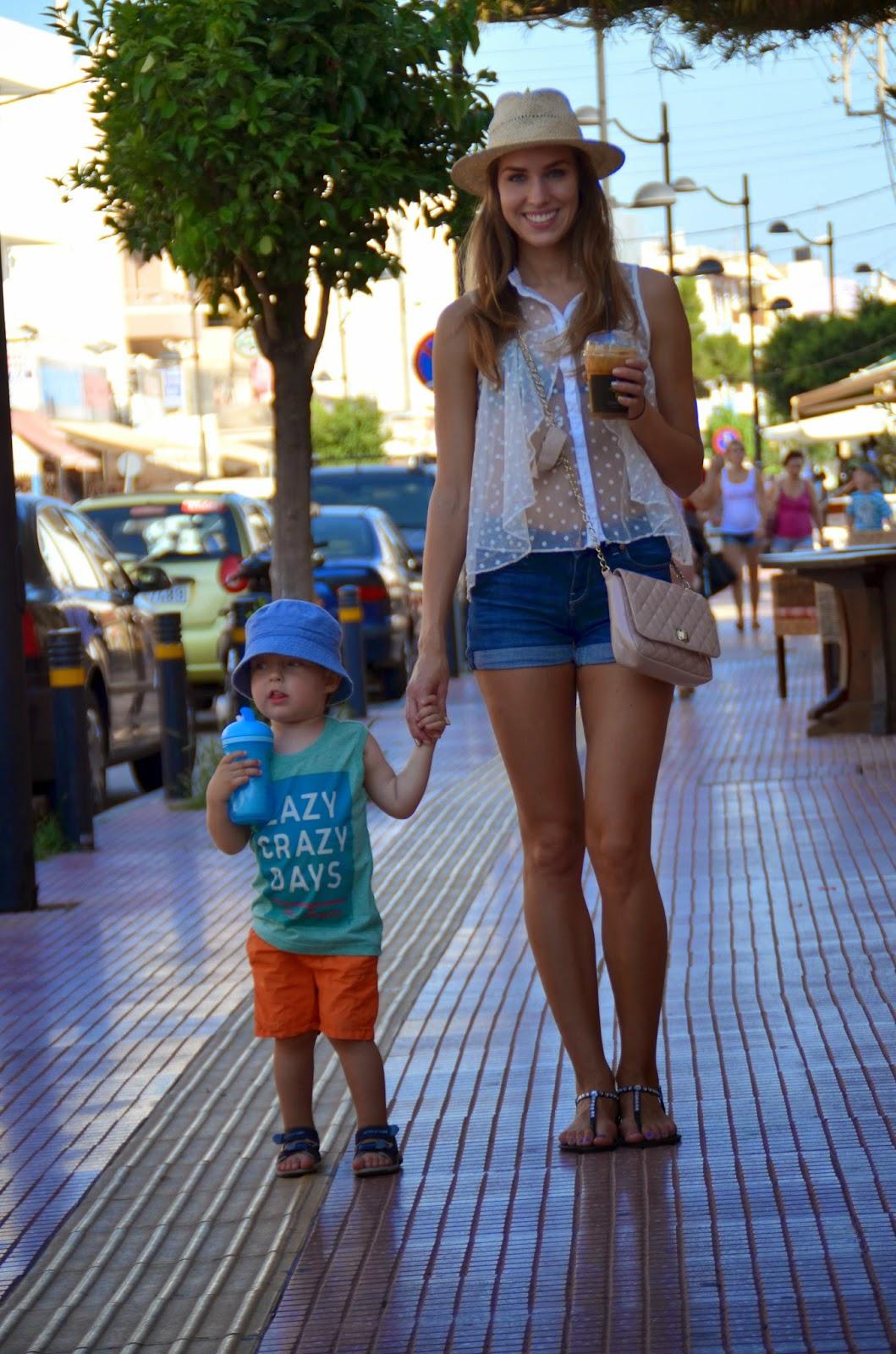crete hersonissos summer denim shorts lace top outfit