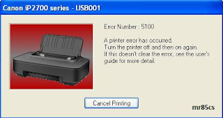 Cara Mengatasi Error 5100 Printer Canon IP 2770