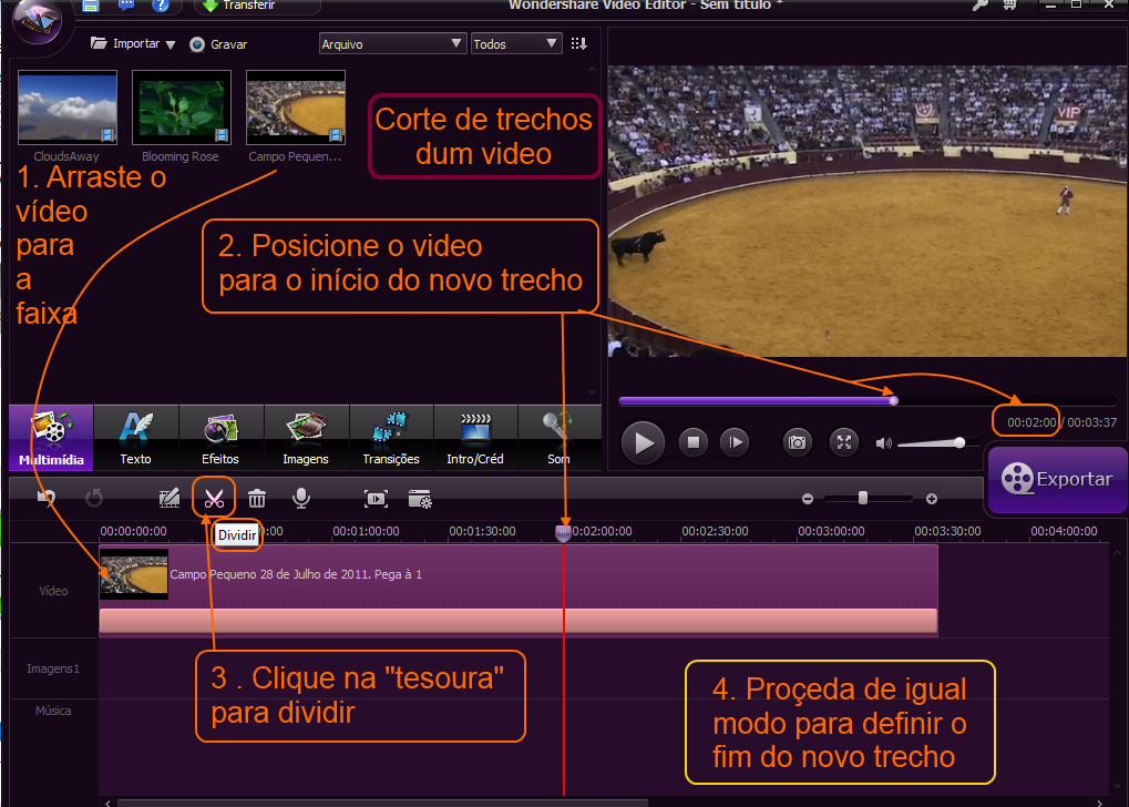 Corte de video com o Wondershare