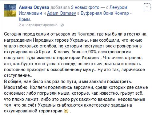 Амина Окуева о подрыве опор высоковольтной линии электропередачи, подающей электричество в Крым