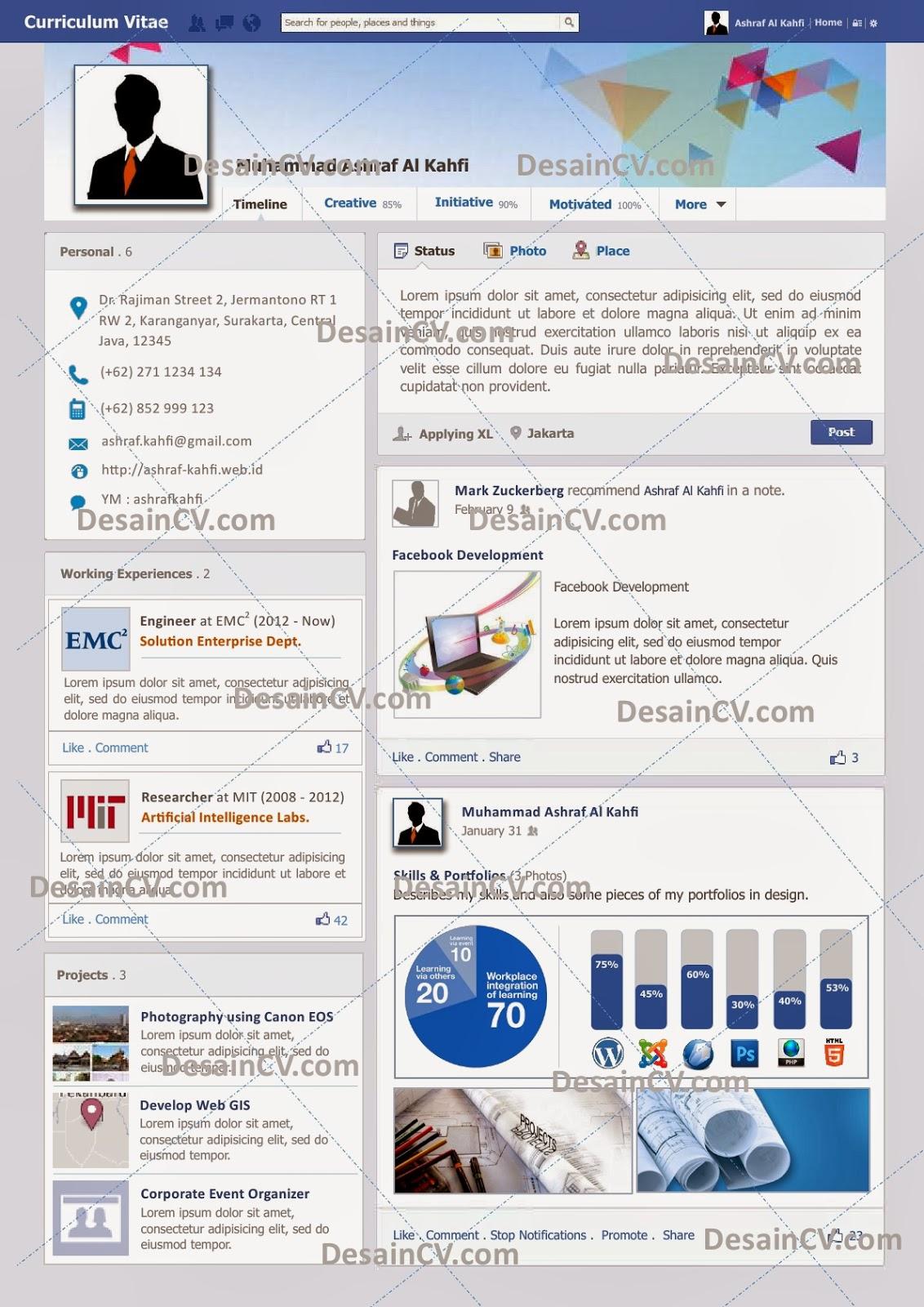 Desain CV Kreatif: Curriculum Vitae Seperti Facebook