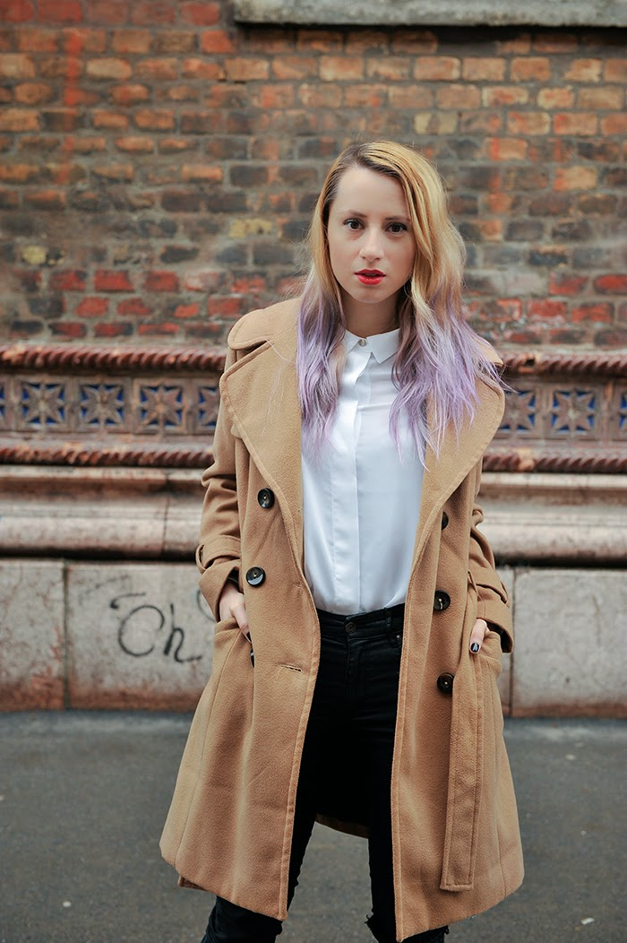 Skinny Buddha Topshop camel coat ripped jeans