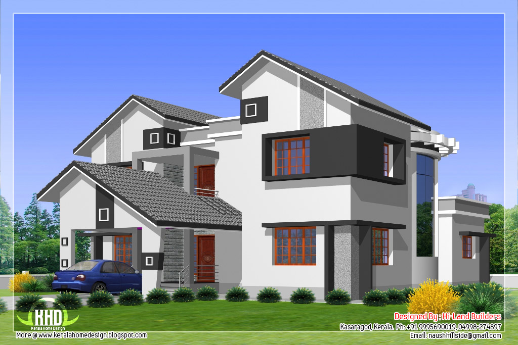 2912 5 diffrent type house designs kerala home for Different house designs and floor plans