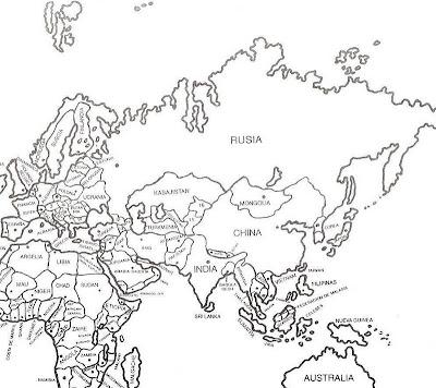 Mapa de Medio Oriente con nombres para colorear ~ 4 Dibujo