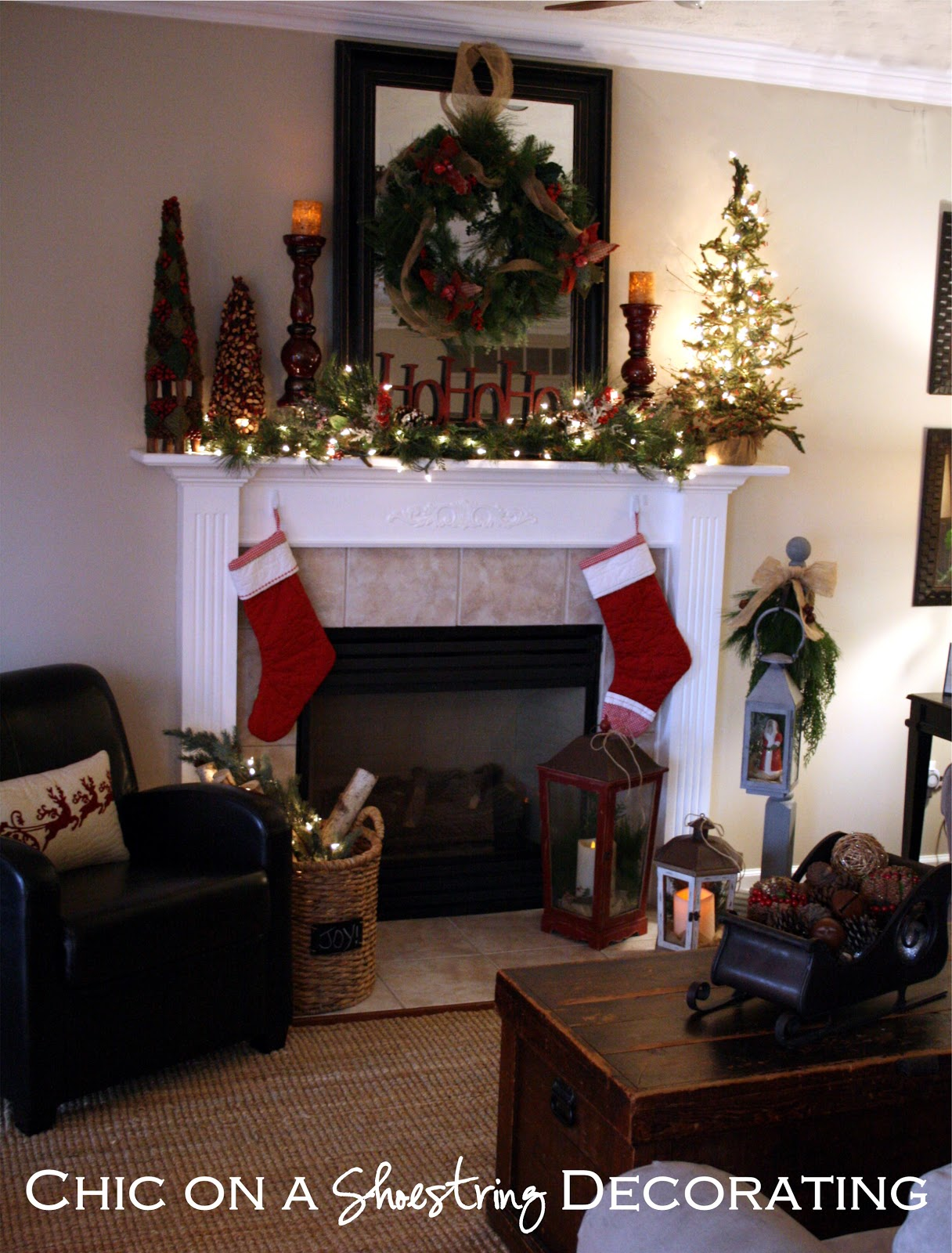 Chic on a shoestring decorating rustic christmas mantel for How to decorate a fireplace for christmas