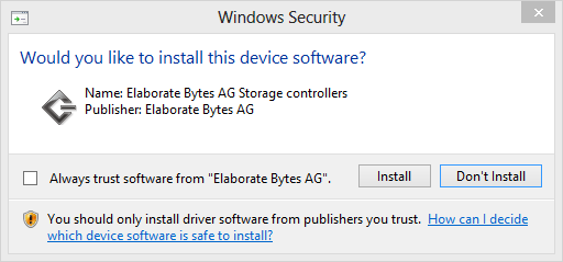 You Wish To Install Elaborate Bytes Ag Storage Controllers Go Ahead And Click I Ve Never Had A Problem With The Installed Driver Even After