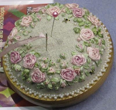 Lorna Bateman Embroidery pincushion - Knitting and Stitching Show
