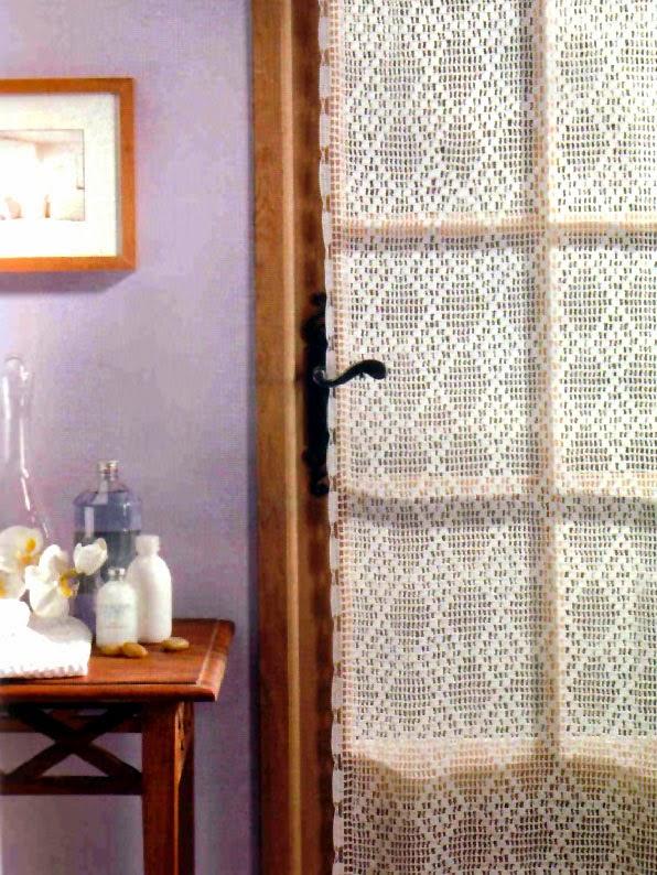 Tejidos artesanales en crochet cortina con rombos en - Tejidos de cortinas ...