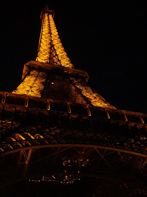 Eiffel Tower lit up at night, Paris