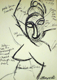 ink sketch of Picasso drawing by artist jane Bennett