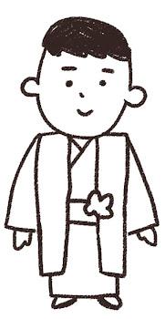 五歳の男の子のイラスト(七五三)線画
