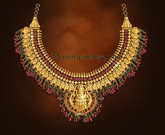 22k traditional temple jewelry  laxmi necklace