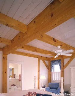 this post and beam bedroom features eastern white pine timbers 