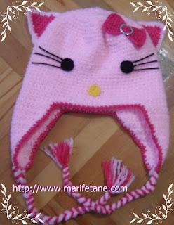 Tiğ İşi Örgü Hello Kitty Şapka