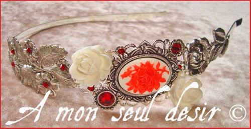 Serre tête camée rose rouge victorien mariage romantique saint valentin amour véritable sincère passion camée fleur rouge