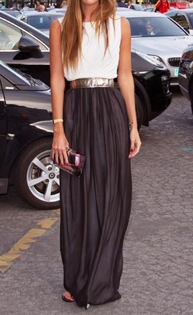 White sleeveless top, Black maxi shirt fashion