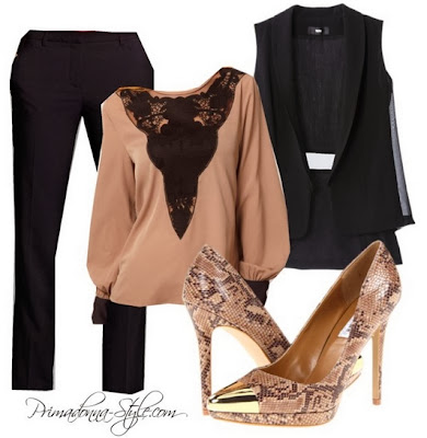 Asos Blouse with Lace Yoke Insert Mossimo Women's Vest Naricisco Rodriguez for DesigNation Crepe Tuxedo Pants  Steve Madden P-Sneek Peep Toe Heels Jessica Simpson Handbag Earrings & Bracelets: Forever 21 Lip: Black Radiance Liquid Lip Color in Cocoa Bronze