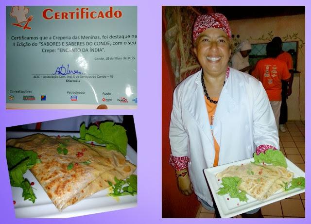 Soraya Mariz, vencedora do título de Destaque do festival, e seu prato Encanto da Índia
