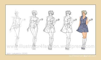 disegno figurino di moda realistico