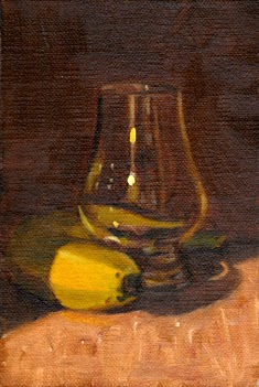 Oil painting of a banana wrapped around the base of an empty Glencairn whisky glass.