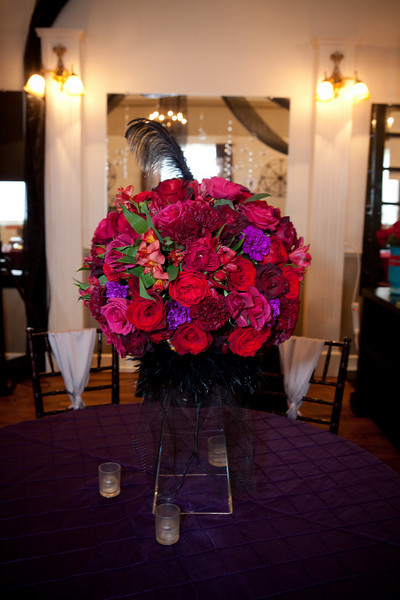 This centerpiece was amazing The feather details really added a fun Gothic