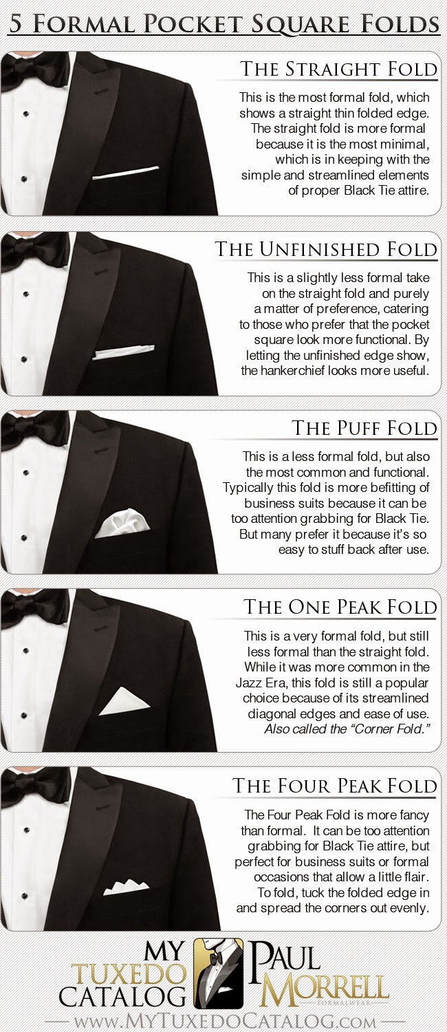 Five Formal Pocket Square Folds