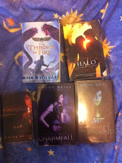 throne of fire by Rick Riordan, Halo by Alexandra Adornetto, Firespell, Charmfall & Hexbound by Chloe Neill