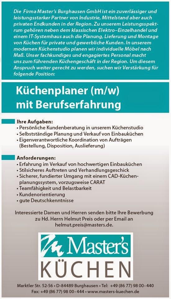 arbeitsmarkt inn salzach masters k chen in burghausen suchen einen k chenplaner. Black Bedroom Furniture Sets. Home Design Ideas