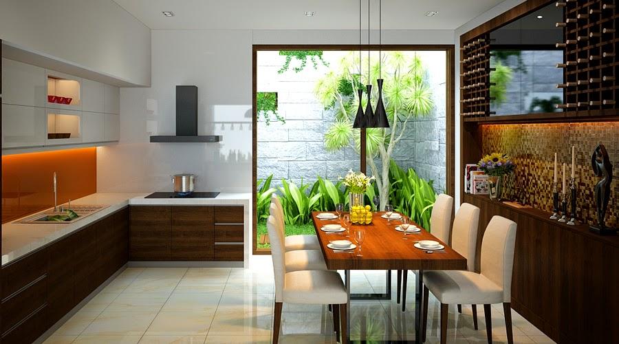 Không gian bếp và ăn hiện đại