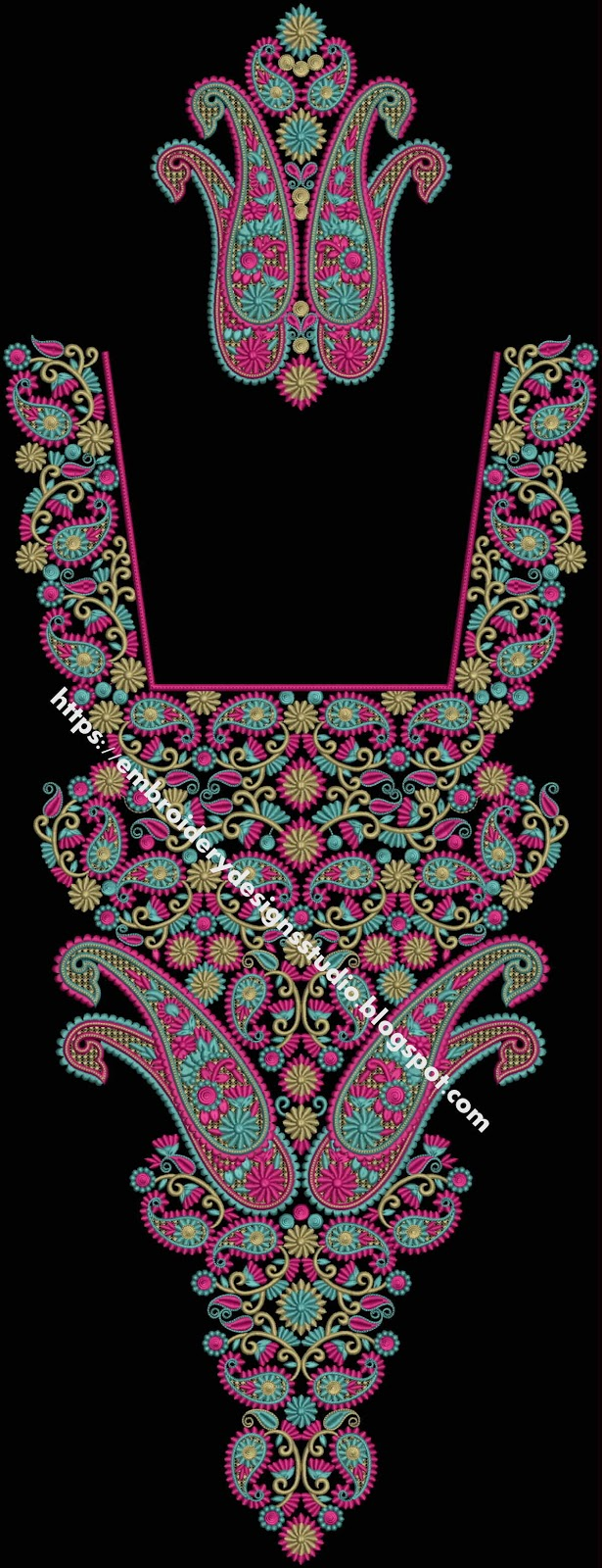 Embroidery library neckline free download designs