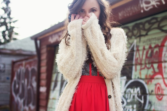 Fluffy-cardigan-brocade-red-dress