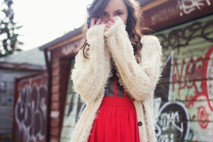 Fluffy-cardigan-brocade-red-dress