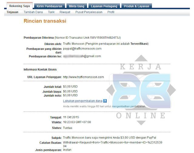 Trafficmonsoon Bisnis Online Terpercaya, Cara Menghasilkan dollar gratis, cara melakukan penarikan dollar trafficmonsoon, bisnis online gratis