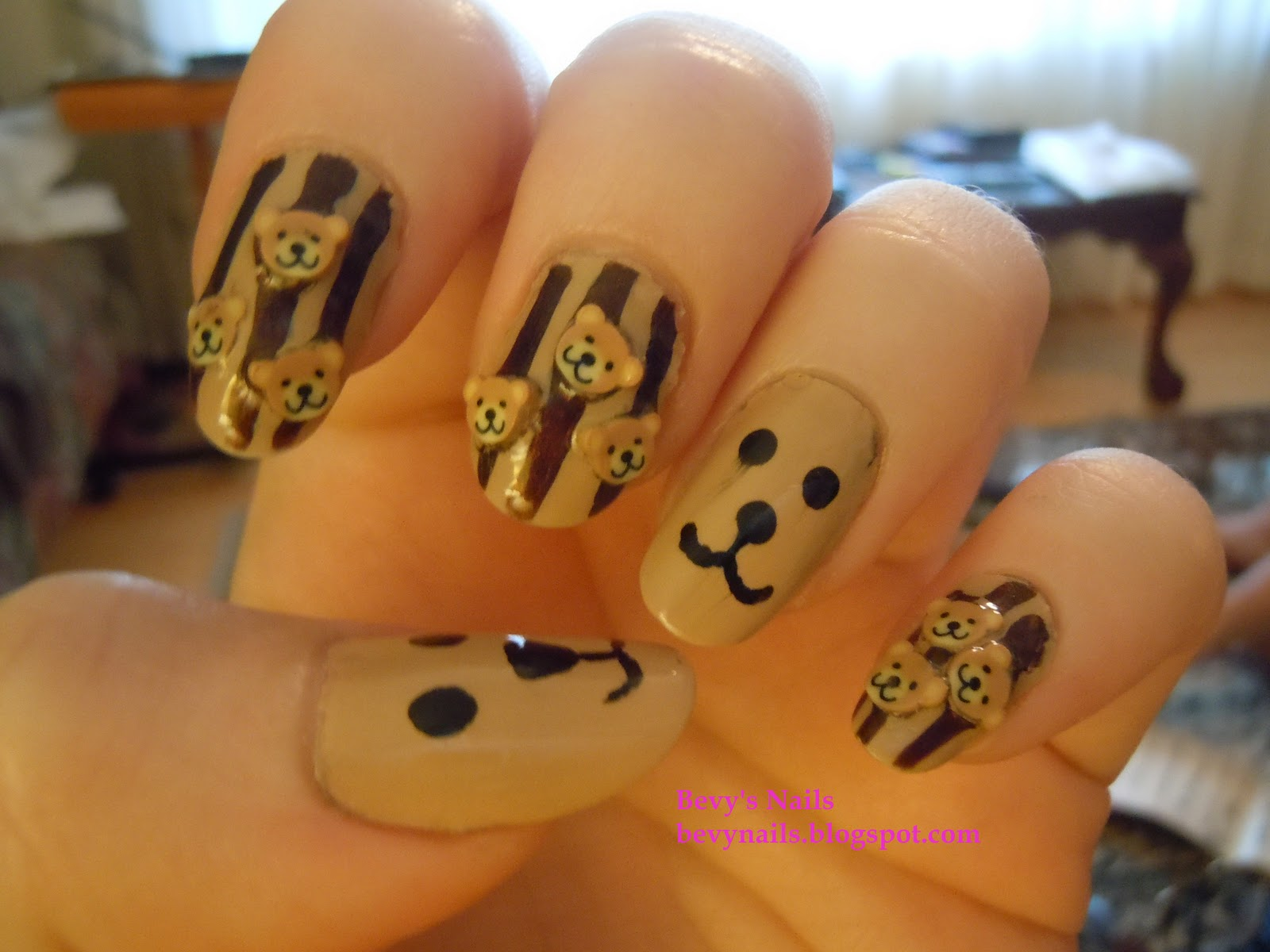 To Celebrate My New Bear I Decided Do Teddy Fimo Nails With Accent Of Faces