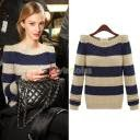 ladies need blue striped designer crewneck sweater