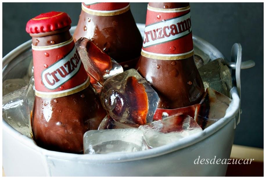 cubo de cerveza, cruzcampo, cerveza, aperitivo, cañas, tartas fondant, tartas fondant Sevilla