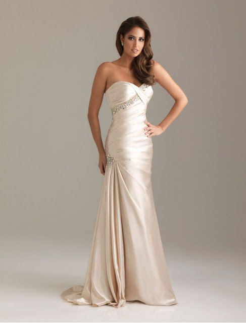 Satin Sweetheart Strapless Neckline Mermaid Prom Dress with Side Gathered Skirt