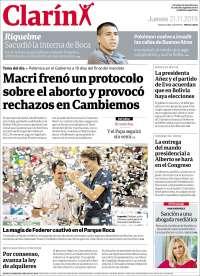 21/11/2019  PRIMERA PAGINA  DE EL CLARÍN  DE ARGENTINA