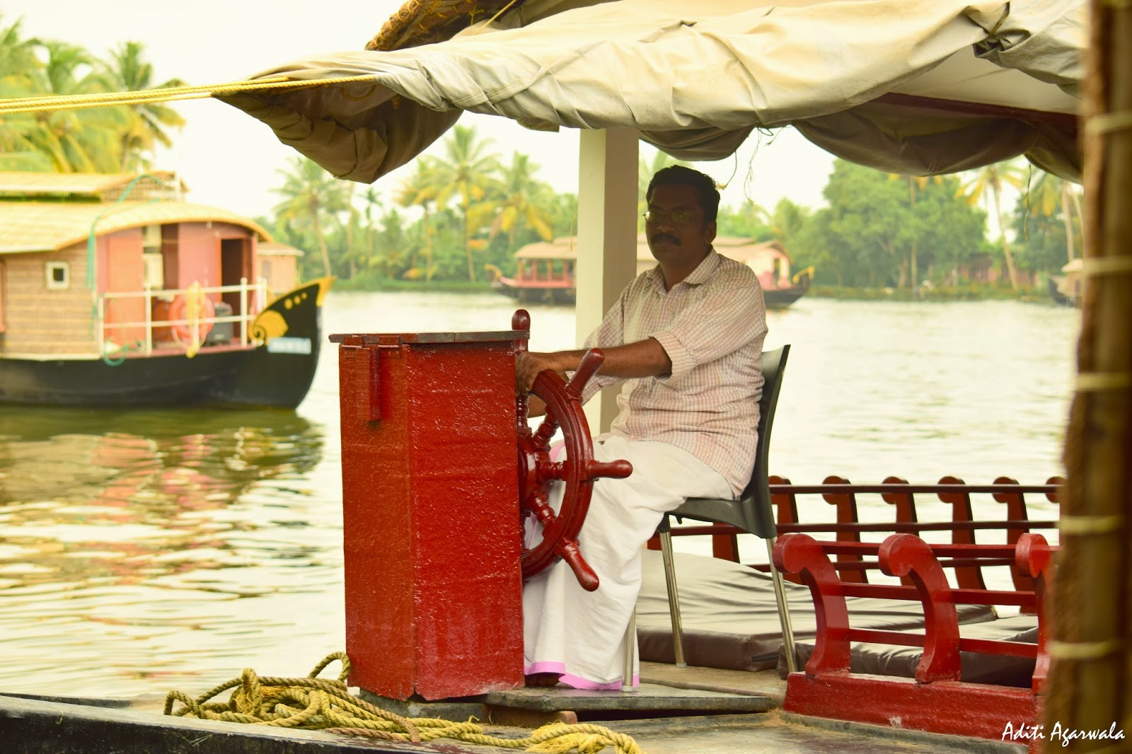 The captain of the houseboat we stayed in Allepey