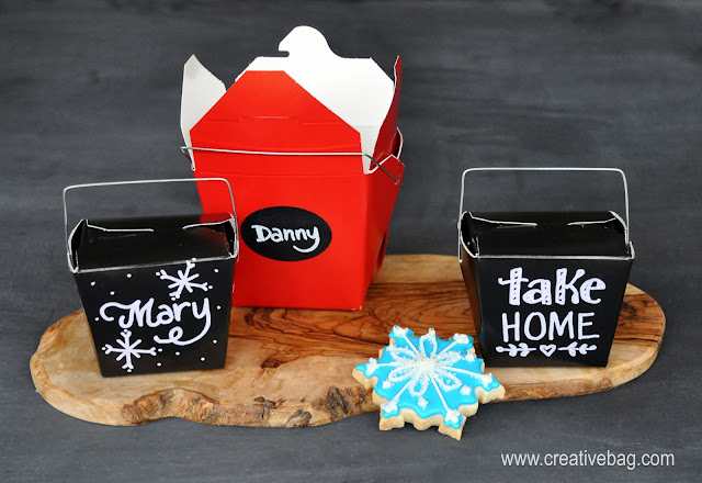 chalkboard take out boxes for holiday leftovers | Lorrie Everitt for creativebag.com