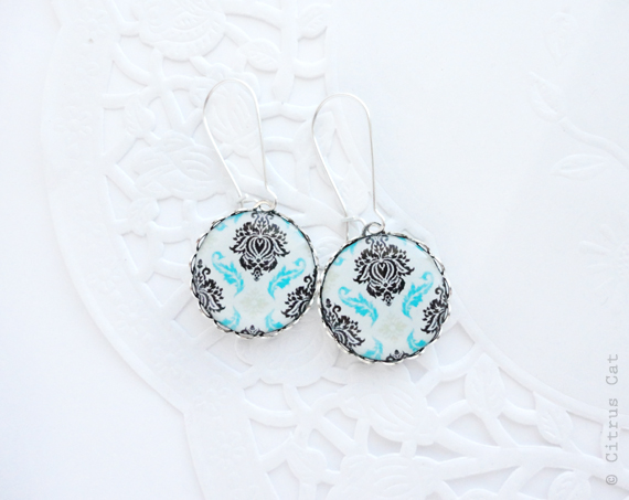 Turquoise and Black Damask earrings damask and turquoise weddings